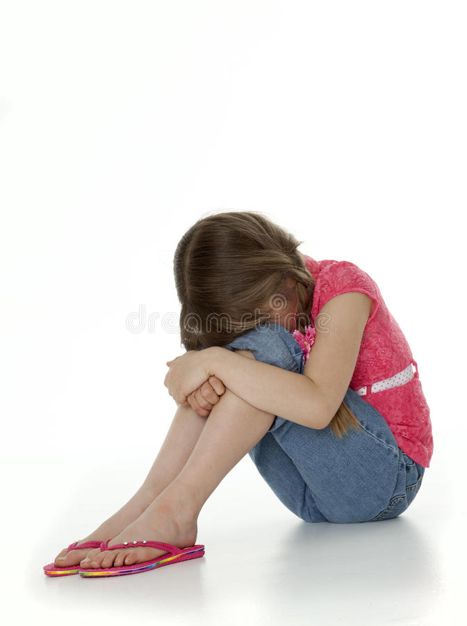 Upset Little Girl on White stock photography
