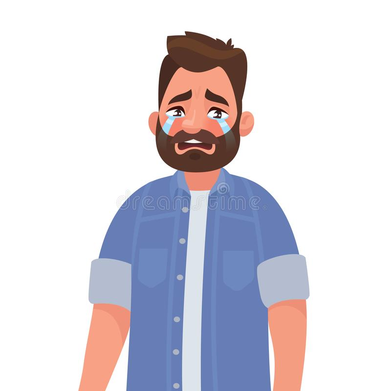 Upset man crying. Resentment and pain. Vector illustration vector illustration