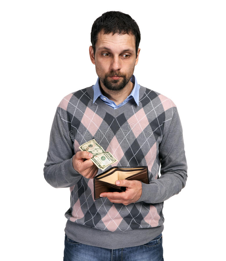 Upset man holding one dollar in hand and showing empty wallet stock images