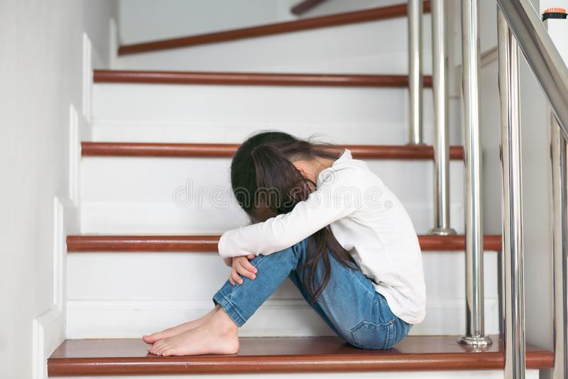 Upset problem child with head in hands sitting on staircase conc. Ept royalty free stock photo
