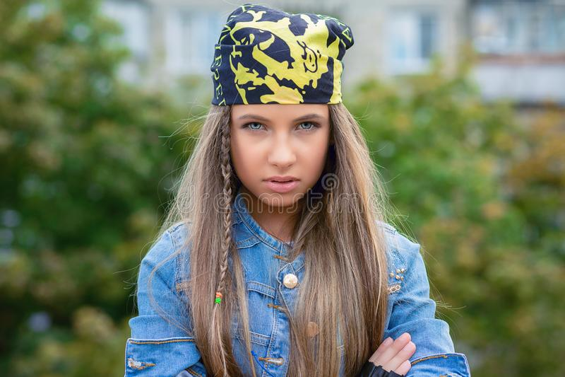 Upset rebel young woman stock images