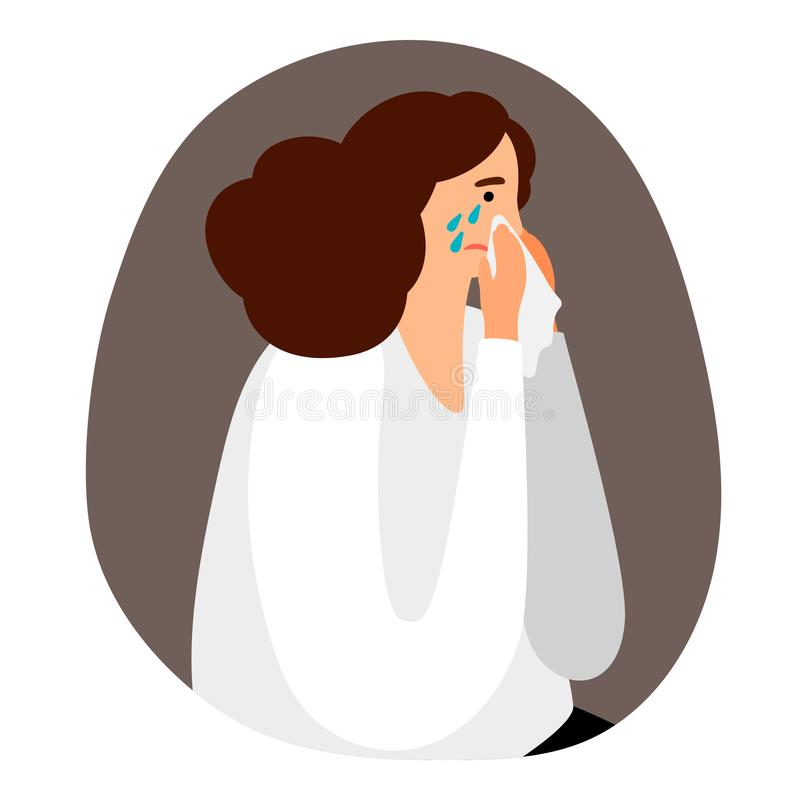 Upset woman is crying vector illustration. Influenza, allergy or sadness concept stock illustration
