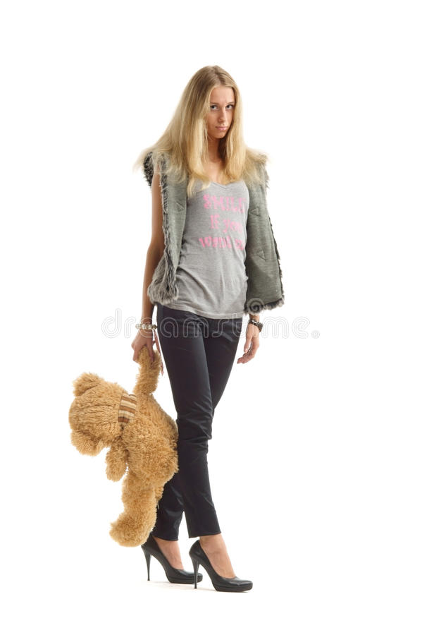 Upset woman with teddy bear royalty free stock images