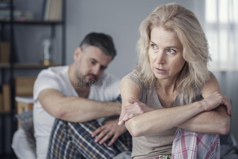 Upset woman after arguing stock photos