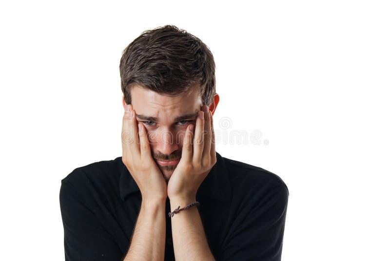 Download Upset worried young man stock image. Image of dispirited - 24898485