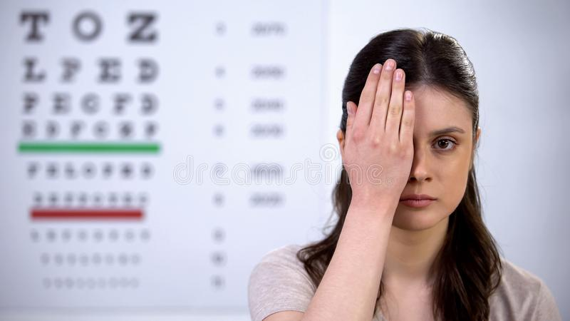 Upset young lady closing eye with hand, eyesight checkup, poor vision problem. Stock photo royalty free stock image