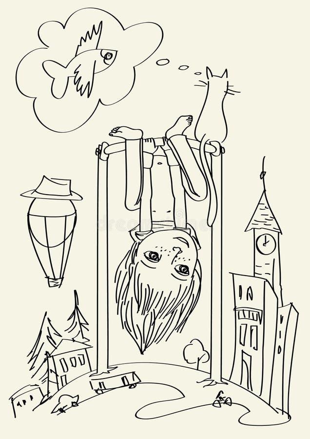 Download Upside-down-boy stock vector. Illustration of imagination - 25396224