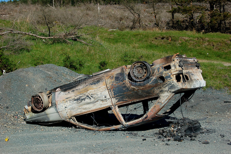 Download Upside down burnt-out car stock photo. Image of crime - 5121484