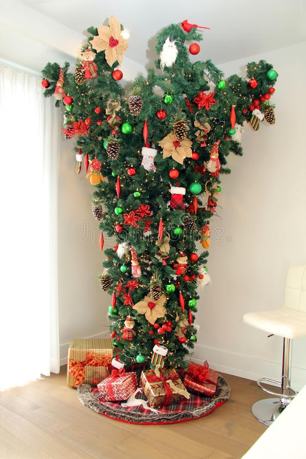 Upside down Christmas tree royalty free stock photography