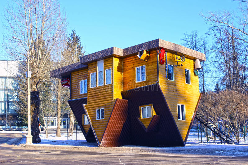 Upside down house in the Russian Exhibition Center in Moscow royalty free stock photos