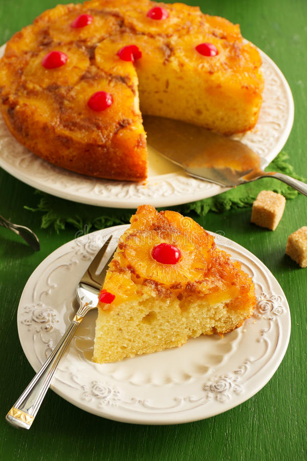 Upside down pineapple cake royalty free stock photography