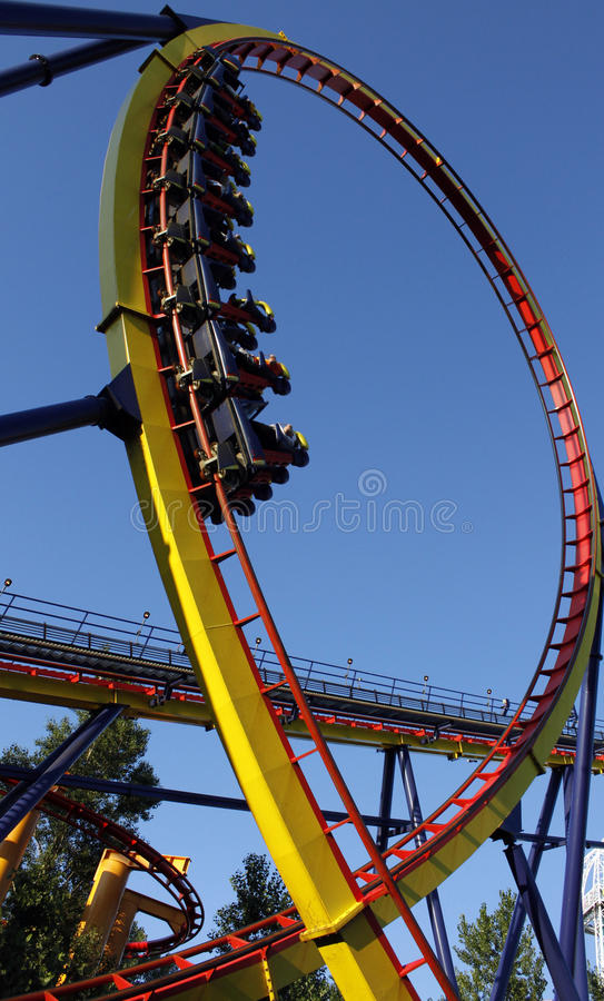 Upside down roller coaster stock photography