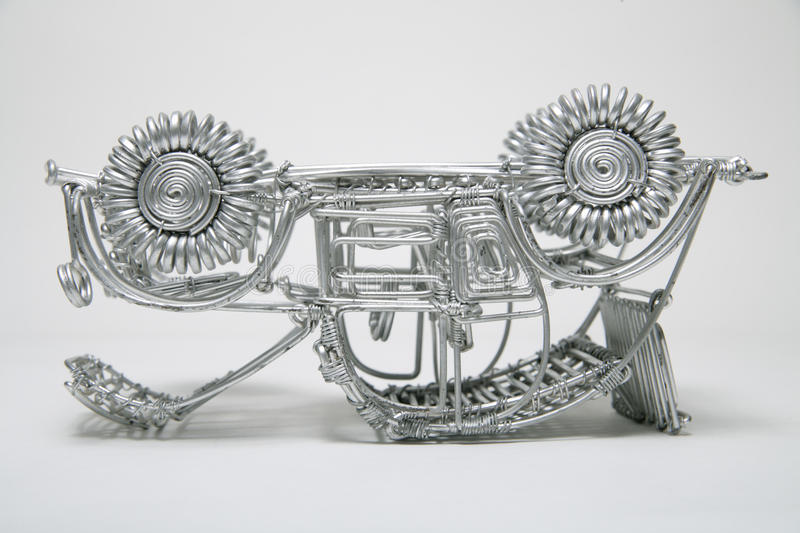 Upside Down Toy Car Made Of Pliable Wire On White Background Stock ...