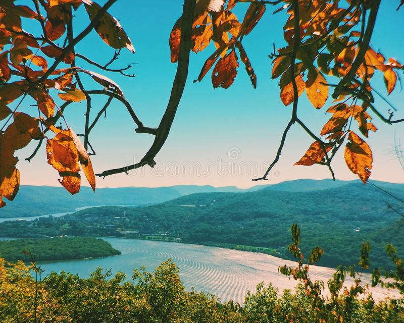 Upstate New York in autumn. Scenic view of a river in upstate New York in autumn, USA stock image