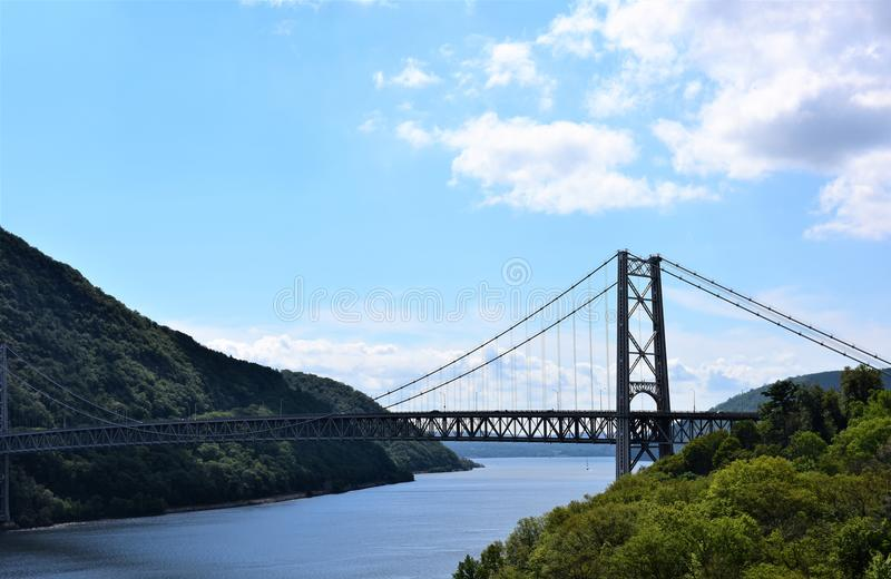 Upstate new york bridge hudson river. There is bridge in upstate of New York across Hudson River in the area of Bear Mountains , which about forty minutes from royalty free stock images