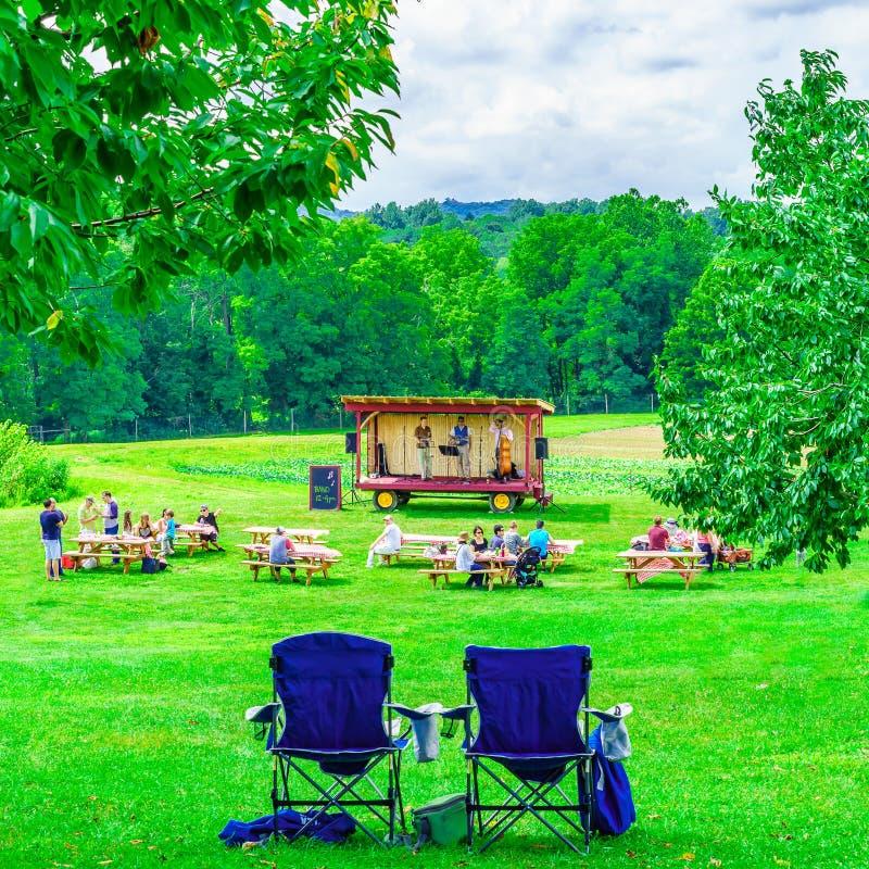 Upstate Nowy Jork usa - Sierpień 12, 2017 muzyka country zespół na platformy zieleni polu, krajobraz łąka z trawą USA obraz stock
