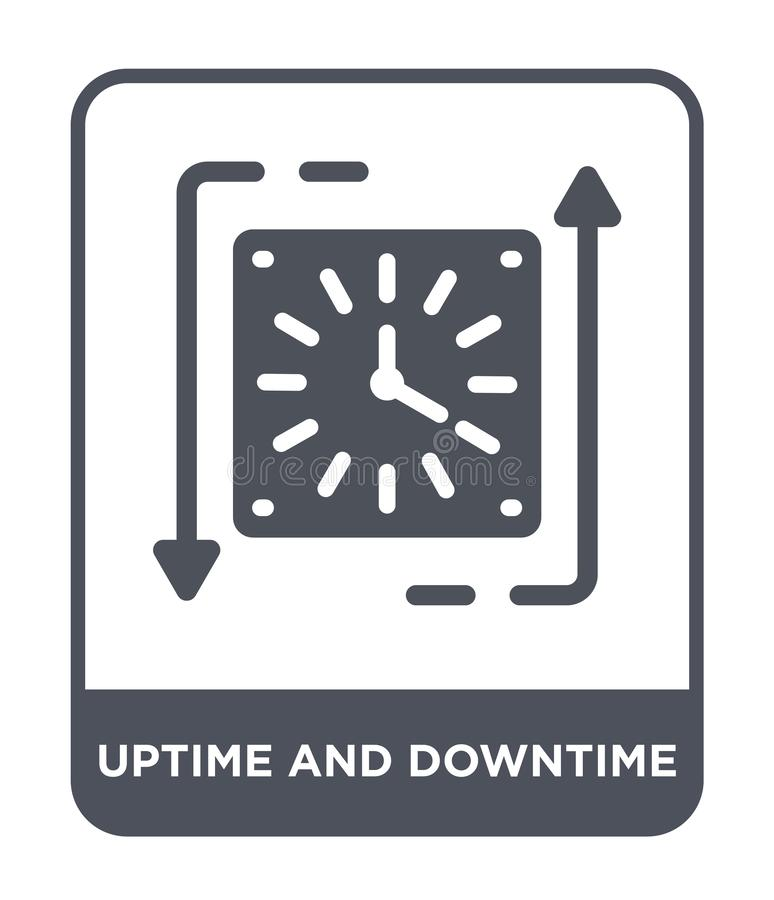 uptime και χρόνου διακοπής εικονίδιο στο καθιερώνον τη μόδα ύφος σχεδίου uptime και χρόνου διακοπής εικονίδιο που απομονώνεται στ ελεύθερη απεικόνιση δικαιώματος