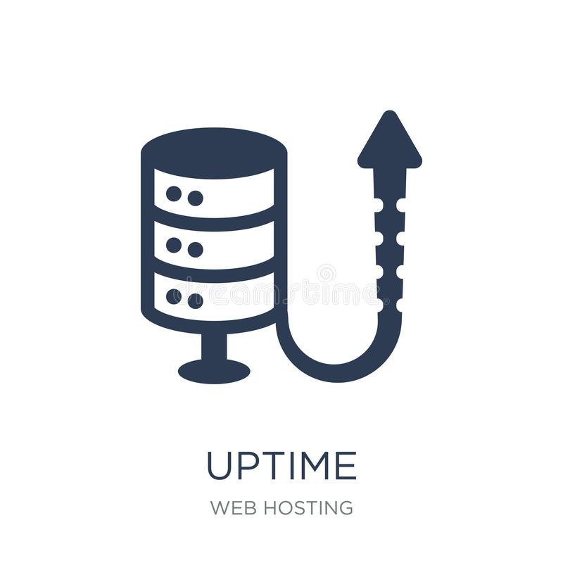 Uptime icon. Trendy flat vector Uptime icon on white background. From web hosting collection, vector illustration can be use for web and mobile, eps10 royalty free illustration