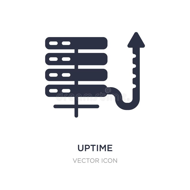 uptime icon on white background. Simple element illustration from Web hosting concept vector illustration