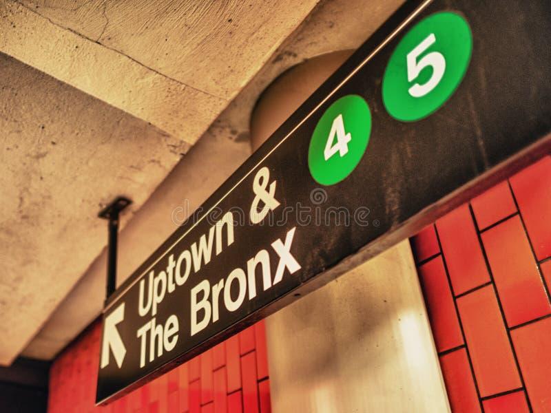 Uptown ad Bronx subway sign, Manhattan, New York stock image