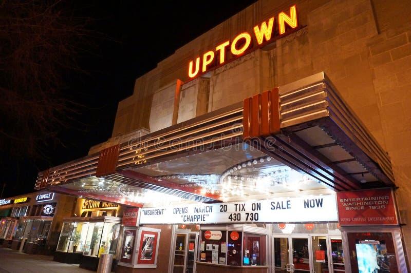 Uptownfilmteater på natten royaltyfri fotografi