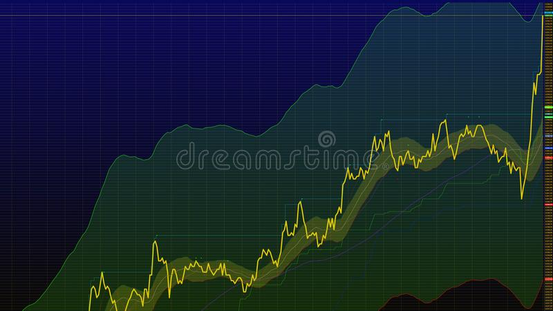 uptrend pieniężny, wydźwignięcie, ekonomiczny wiec akcyjna mapa wysoka ilustracja wektor