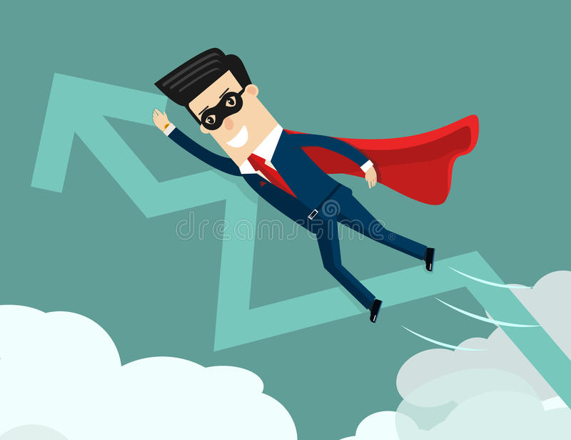 uptrend Super biznesmen z narastającym wykresem ilustracja wektor
