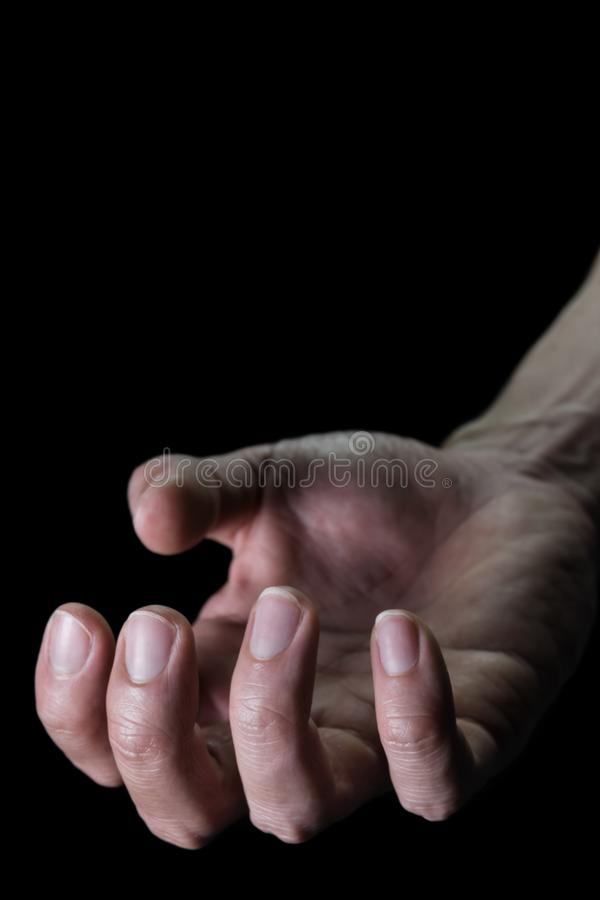 Upturned Human Hand for Devil Crime Violence Concept in Book Cover Style stock photos
