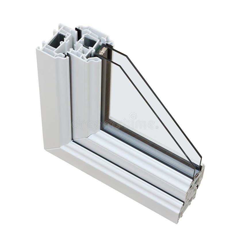UPVC-tvåglasfönstertvärsnitt arkivfoto