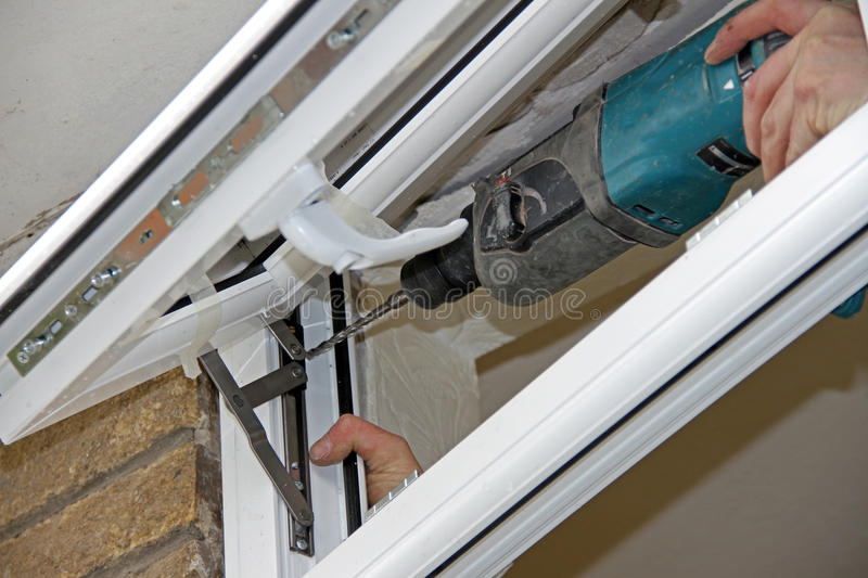 UPVC Window Replacement 2. UPVC window installation in progress double glazing royalty free stock photography
