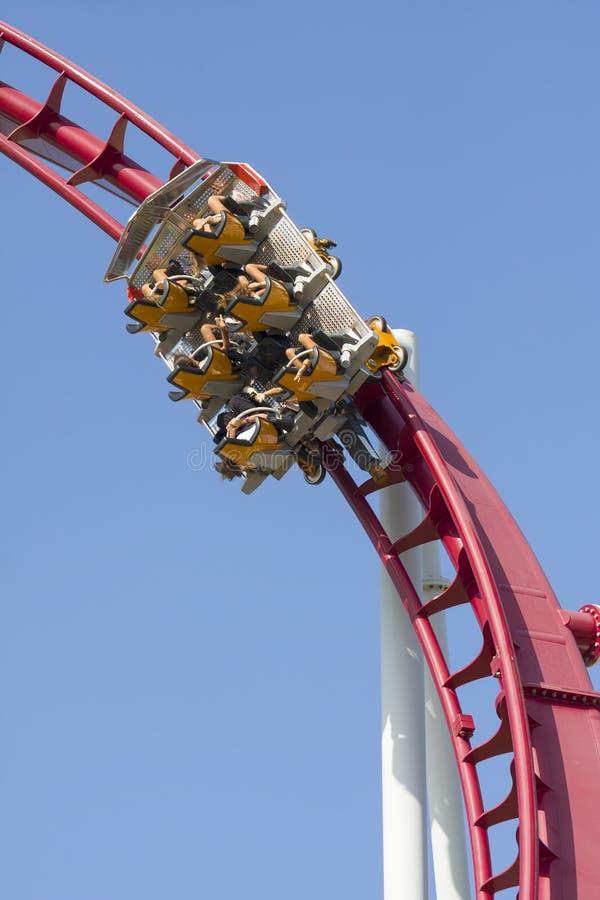Upward Roller Coaster Car Fun. Closeup of a roller coaster car that goes upward at full speed royalty free stock image