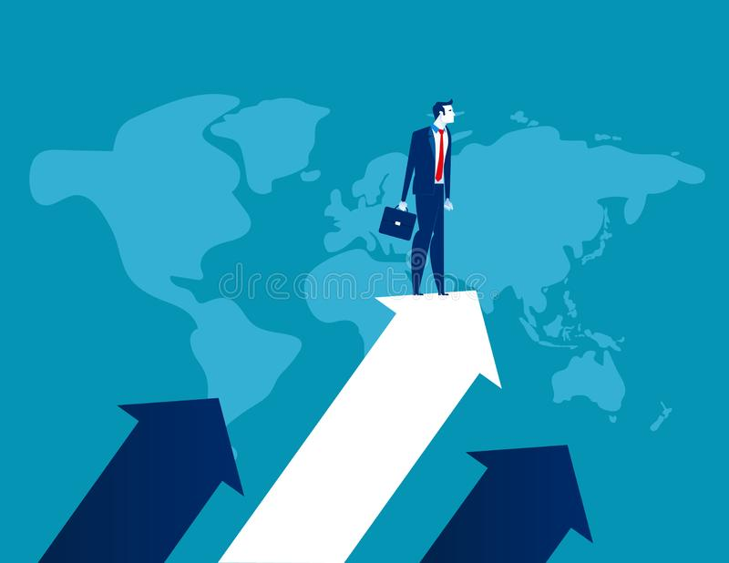 Upward. Businessman standing the arrow. Concept business success vector illustration, Flat business cartoon, Global company, vector illustration
