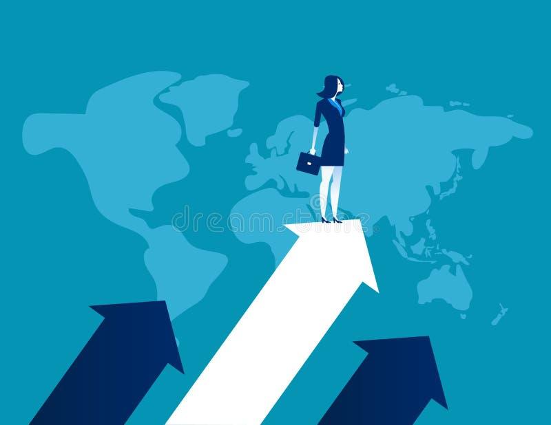Upward. Businessman standing the arrow. Concept business success vector illustration, Flat business cartoon, Global company,. Leadership vector illustration