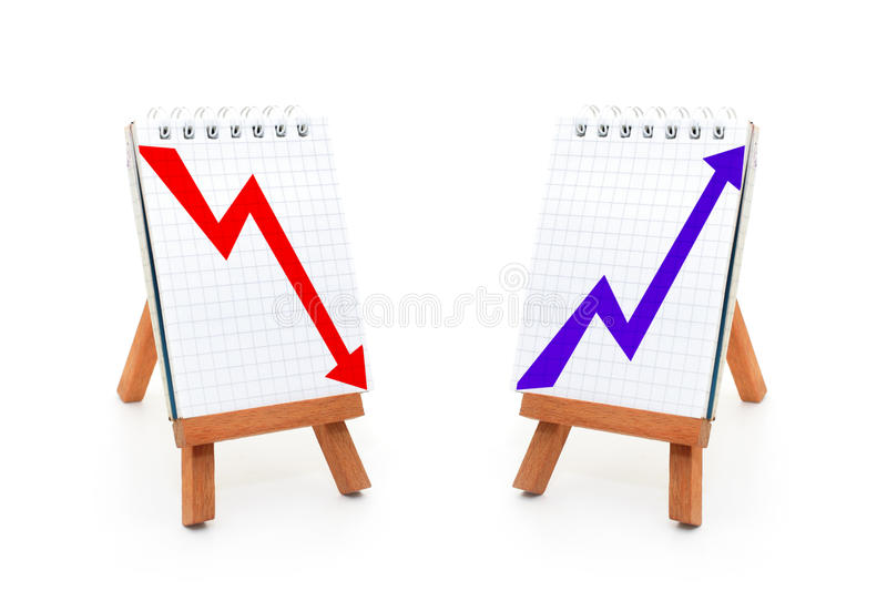 Upward and downward graphs. 3d illustration of upward and downward trend graphs on notice boars, white background stock photography