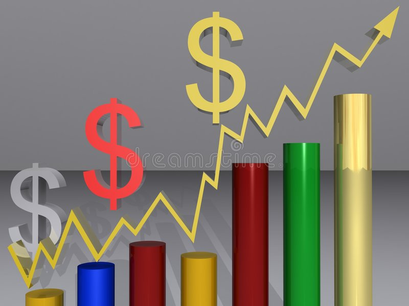 Upward graph and dollar signs. Illustration of colorful bar graph showing upward trend with arrow and Dollar symbols, light background