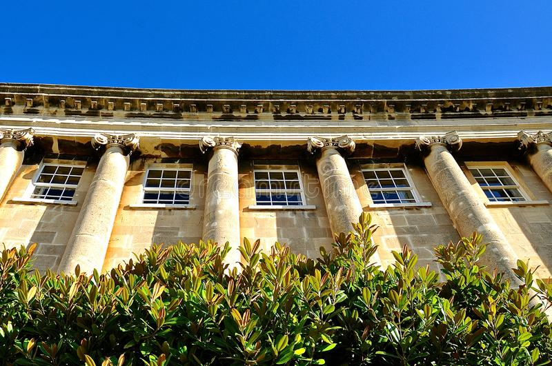 Upward perspective of a Georgian terrace house. Against a blue sky background, with lush shrubbery in the foreground royalty free stock photography