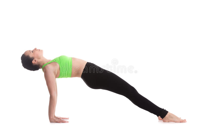 Upward plank yoga pose. Beautiful sporty girl practices yoga, Purvottanasana, Upward Plank Pose, stretching shoulders, chest, front ankles, strengthening arms royalty free stock image