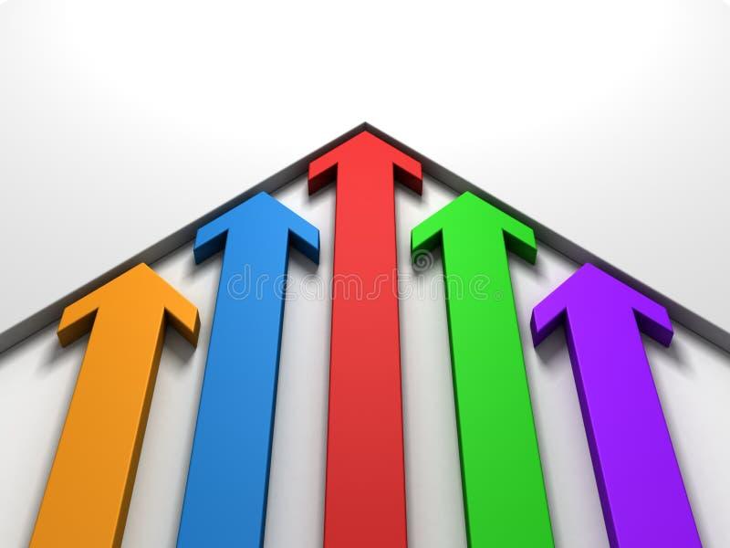 Upward rising colorful arrows moving white wall