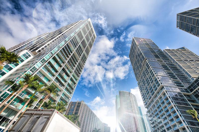 Upward street view of Downtown skyscrapers on a beautiful sunny day. Business and coroprate concept royalty free stock photo