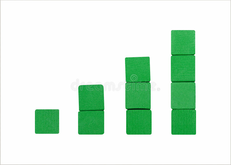 Upward Trend. Stacks of green blocks create an upward trending graph against a clean white background royalty free stock photos