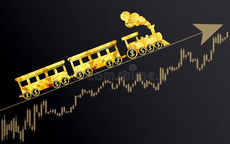 Upward trend in the stock market. Upward trend as a train.Financial metaphor stock illustration
