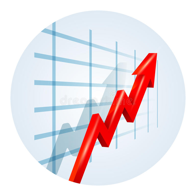 Upward trending arrow on a business graph. Upward trending red dimensional zigzag arrow on a business graph showing growth improvement success and development royalty free illustration