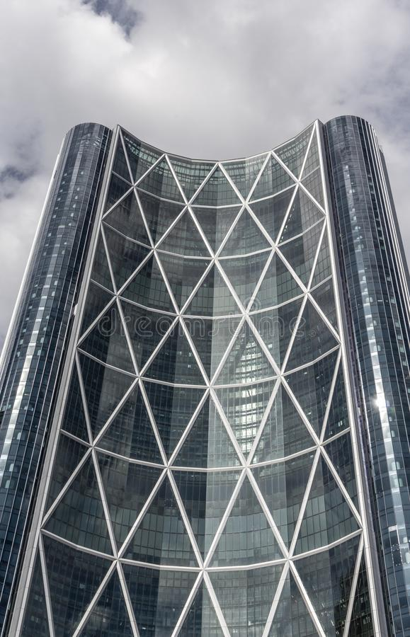 An upward view of `The Bow`, a skyscraper in Calgary, Alberta stock photography