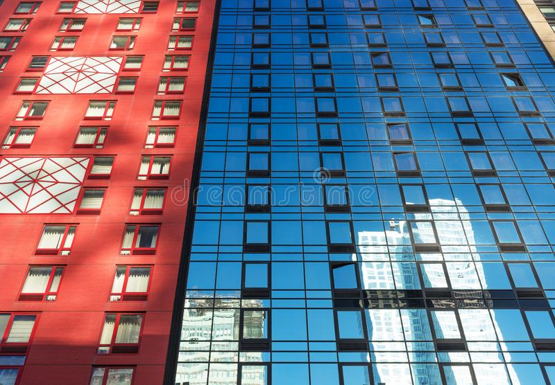 Colorful upward view of buildings in New York City. Upward view of buildings in New York royalty free stock photo