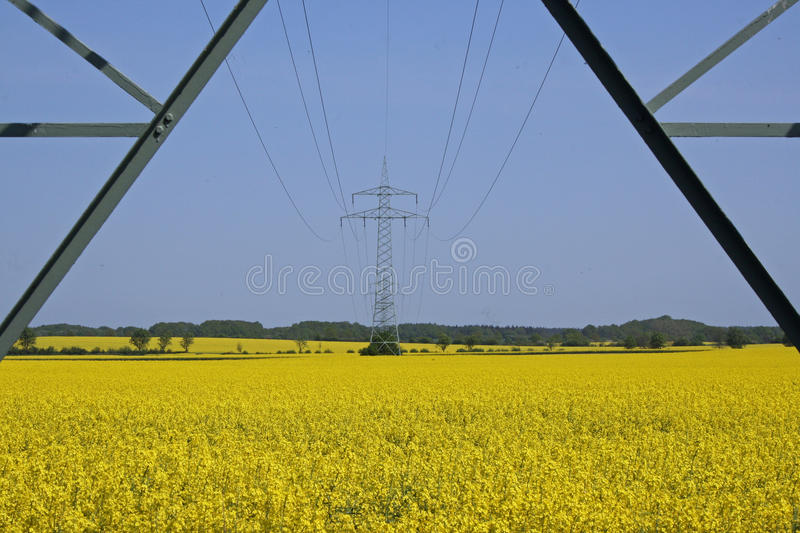 Upward view of cables on pylon stock photos