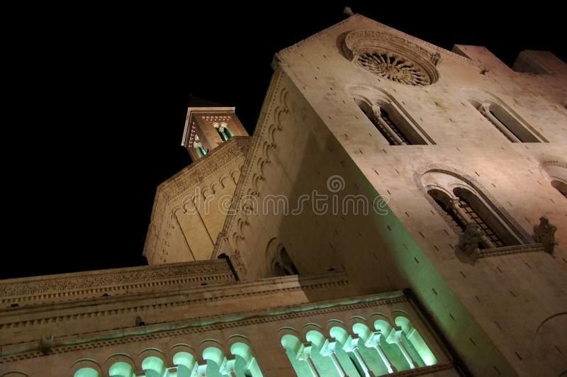 Upward view of a medieval cathedral Cattedrale di San Sabino at night. Bari, Apulia, Southern Italy stock images