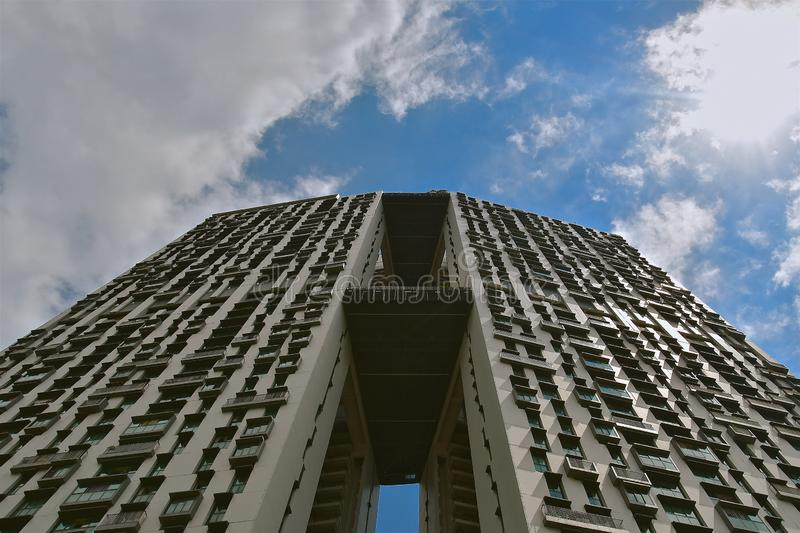 Upward view modern apartments stock image