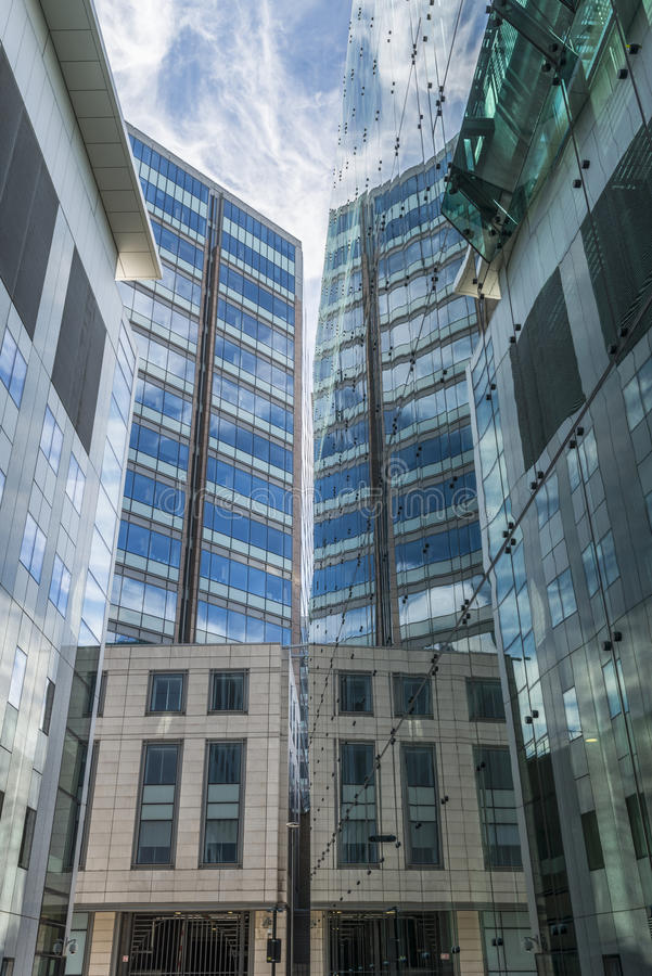Upward view of modern skyscrapers in the City of London royalty free stock photo