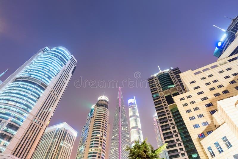 Shanghai financial centre at night stock photo