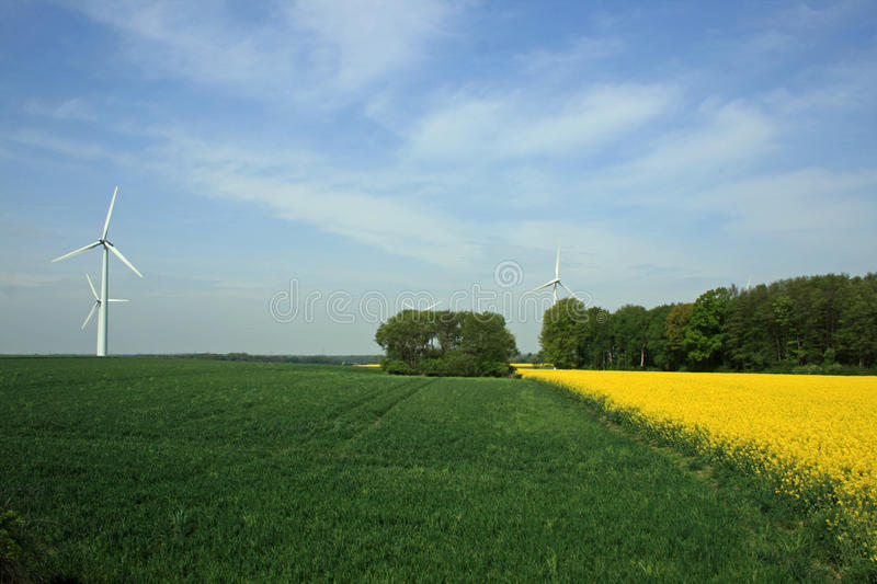 Upward view of a wind turbine royalty free stock images